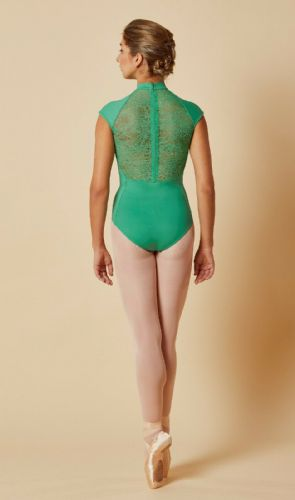 Mirella by Bloch Ladies Dance Cap Sleeved Leotard Lace Zip Back M5082 Green